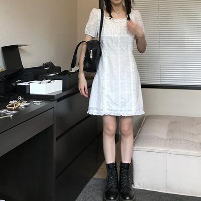 王少女的店 白色连衣裙2021新款春夏气质甜美法式a字茶歇复古裙子