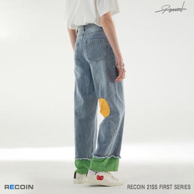 RECOIN 原创潮牌拼接牛仔裤男2021新款宽松直筒春夏薄款长裤
