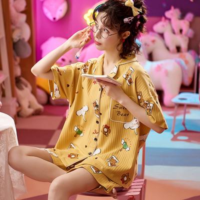 2021新款睡衣女夏季纯棉卡通短袖女士休闲薄款春秋家居服两件套装