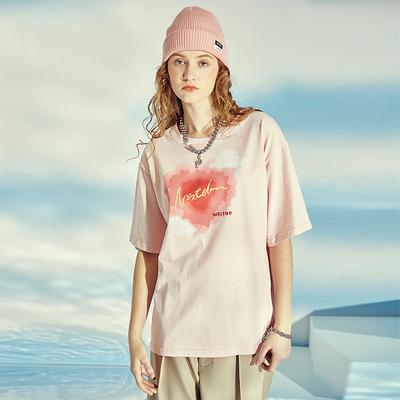 NEXTDAWN2021夏季粉色爱心印花韩版宽松可爱圆领显瘦短袖上衣T恤