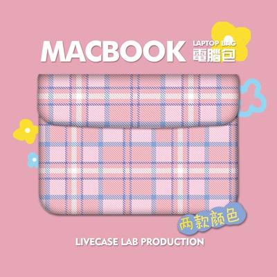 粉色少女心格子苹果电脑包macbook air pro内胆包11 12 13 15寸