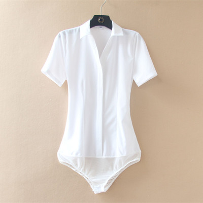 抗皱易打理职业连体衬衫女白衬衣工作服正装短袖寸衫女夏装工衣
