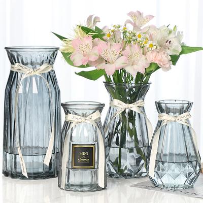 【四件套】欧式简约玻璃透明客厅花瓶