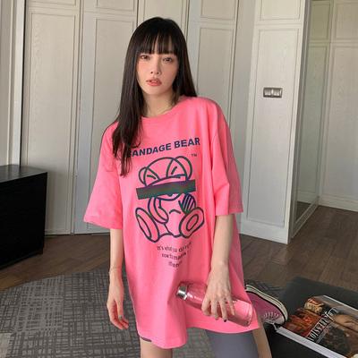 李小璐荧光熊印花中长款宽松纯棉短袖t恤女2021年新款夏半袖圆领
