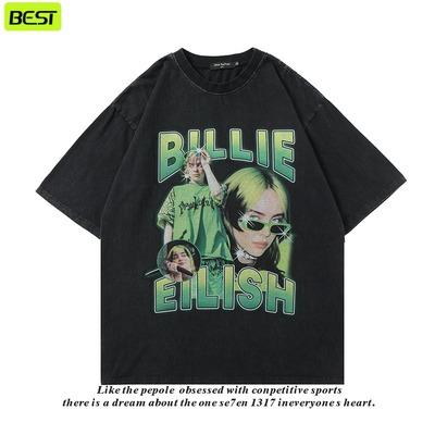 高街复古人物Billie Eilish嘻哈说唱歌手印花短袖T恤男女街头半袖