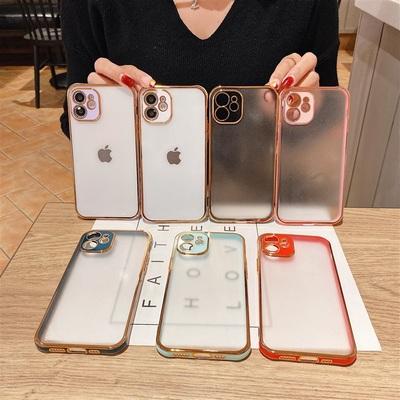 简约创意苹果12电镀xs半透明手机壳