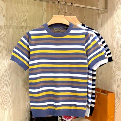 韩国简约小清新针织海魂衫 夏季经典学院风撞色条纹轻薄短袖t恤男