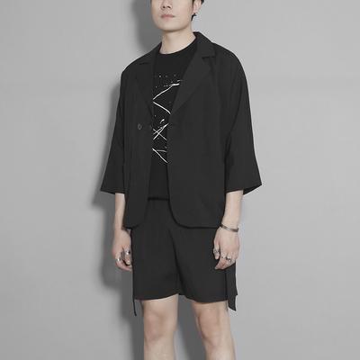 原创男装 夏装港风纯色翻领西装男套装休闲商务薄款七分袖外套男