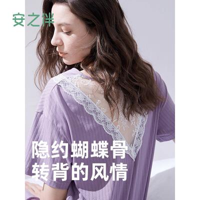 安之伴新款睡裙夏季短袖纯棉睡衣