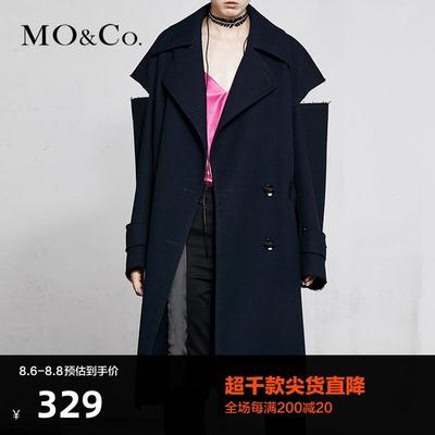 MOCO春季新品双排扣翻领羊毛呢大衣MA181OVC101 摩安珂