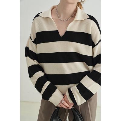 范洛2021秋季羊毛百搭休闲POLO领条纹宽松毛衣女设计感慵懒风上衣