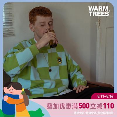 WARMTREES2021SS 向日葵绣花棋盘格圆领毛衣 春季新品