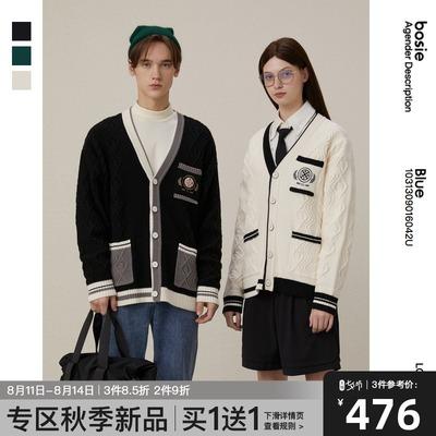 Blue bosie2021秋新款复古撞色针织衫学院减龄毛衣潮6042U