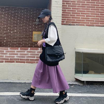 微胖mm松紧腰纯色半身裙女2021年春夏新薄款大码高腰中长款a字裙