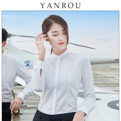 立领白衬衫女长袖职业免烫百搭修身工作服气质工正装打底白色衬衣