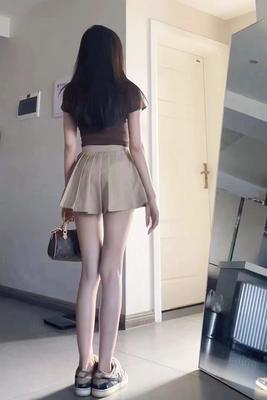 enen 百褶裙女夏季纯欲风辣妹a字裙半身裙超短裙裤高腰百搭蓬蓬裙