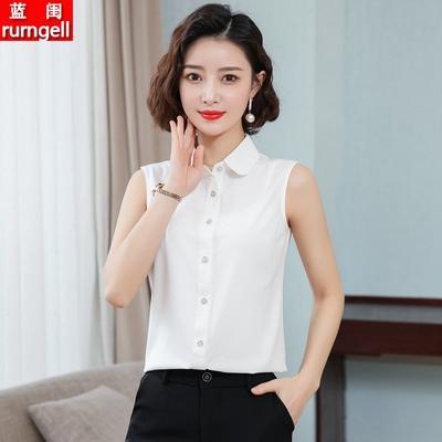 无袖衬衫女雪纺2021夏季新款内搭背心上衣职业气质露肩显瘦白衬衣