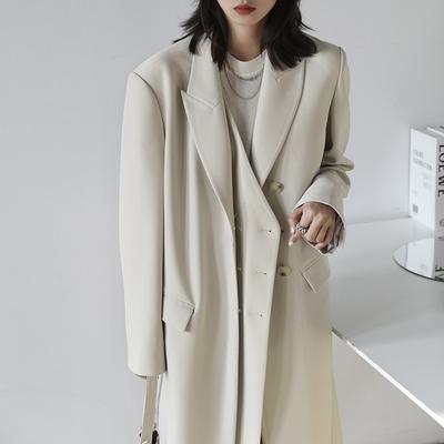 CHICVEN2021早秋新款 重工气质双门襟长款宽松西装外套过膝风衣女