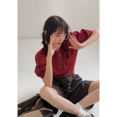 欧阳喜百搭灯笼袖针织上衣2021早秋法式复古设计感纯色宽松女短袖