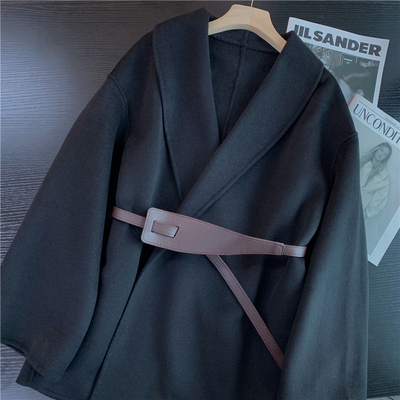 反季清 去年卖460 高端羊毛附腰带高级气质优雅羊毛大衣