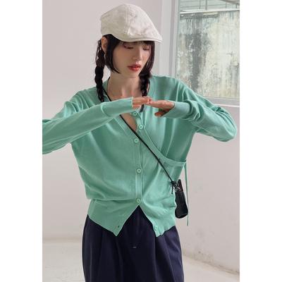 欧阳喜解构设计针织开衫女2021新款早秋百搭宽松外穿圆领打底上衣