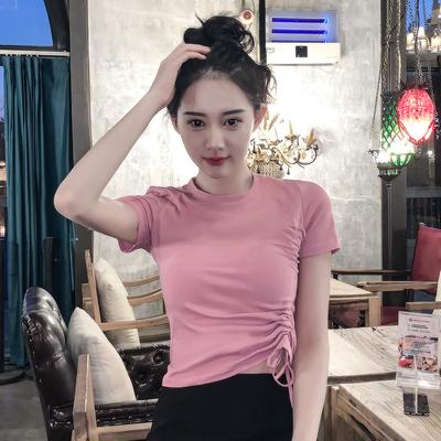 粉色高腰t恤女夏季短袖紧身抽绳短款上衣性感别致设计感纯棉半袖