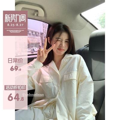 馨帮帮自制 夏季新款2021年慵懒风宽松白色衬衫女衬衣长袖上衣女