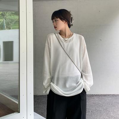 SIXI四喜家早秋 热辣休闲软糯华夫饼纹理镂空网眼长袖T恤女防晒衫