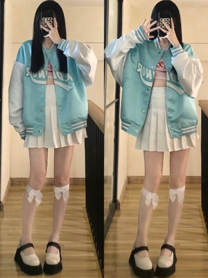 【KLDINOR线上】潮牌笑脸毛巾绣丝绸棒球服夹克蒂芙尼蓝薄款外套