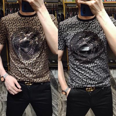 6050男士夏季短袖个性潮流印花欧货T恤中年商务绅士男装修身打底