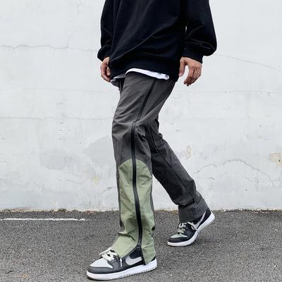欧美街头高街嘻哈GALI同款侧边机能工装拼接拉链休闲运动长裤男