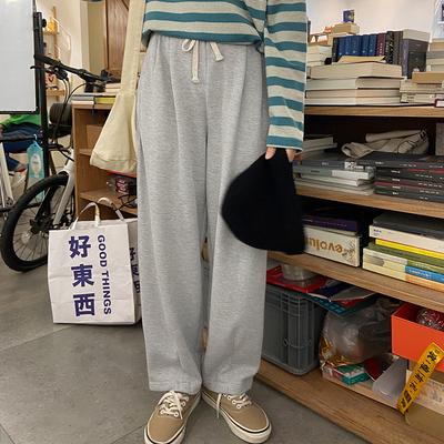 奶兔星球-自制 夜宵的时候穿它 华夫格抽绳卫裤宽松休闲裤女秋季