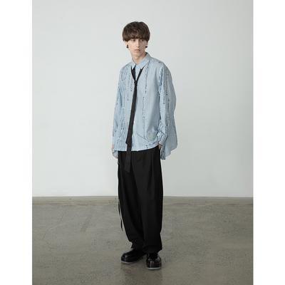 EKCOOKIES原创设计师 甘望星同款小众音符设计感条纹衬衫垂感下摆