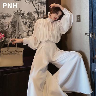 2021夏季新款白色气质连体裤女长款高腰垂感雪纺连衣阔腿裤长裤子