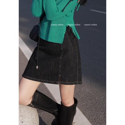 欧阳喜 明线设计感牛仔短裙2021新款时尚A字裙通勤高腰气质半身裙