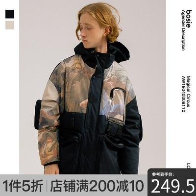 bosie 2019冬季新品设计师潮牌男女情侣款pvc印花潮牌羽绒服外套