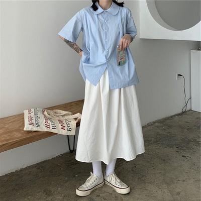 大码胖mm2021新款日系少女工装裙ins秋季中长款松紧腰半身裙学生