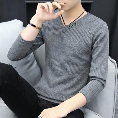 春秋季毛衣男士韩版加绒加厚上衣服